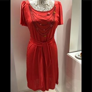 Red dress with short sleeves - made in Italy